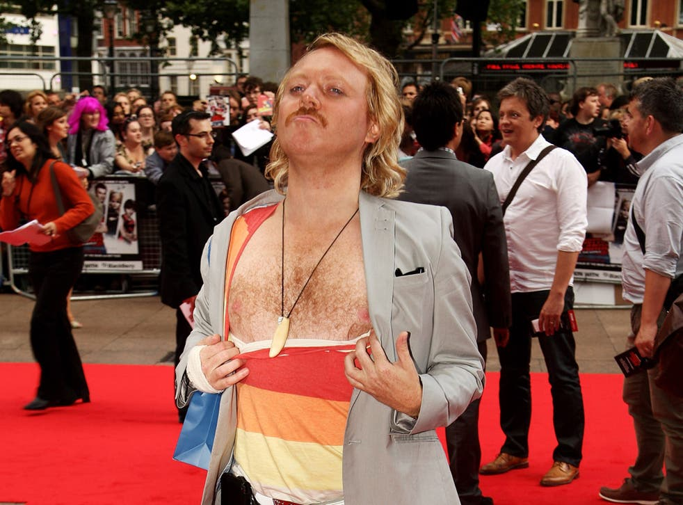 Keith Lemon, played by Leigh Francis, flaunts his hairy chest