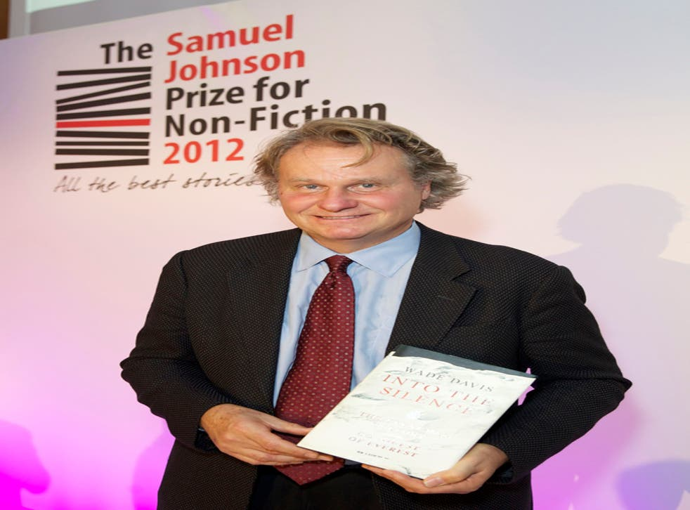 Canadian Wade Davis who picked up the £20,000 Samuel Johnson Prize for Non-Fiction at a ceremony in London tonight.