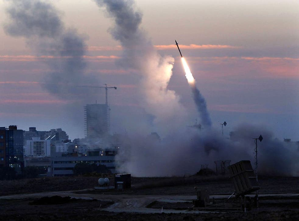 The Iron Dome defence system fires to intercept incoming missiles from Gaza in the port town of Ashdod in Israel
