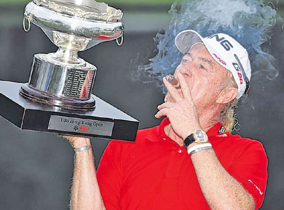 Miguel Angel Jimenez, almost 49, enjoys his Hong Kong Open win