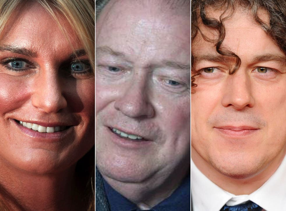 From left: Speaker's wife Sally Bercow, Lord McAlpine, and comedian Alan Davies