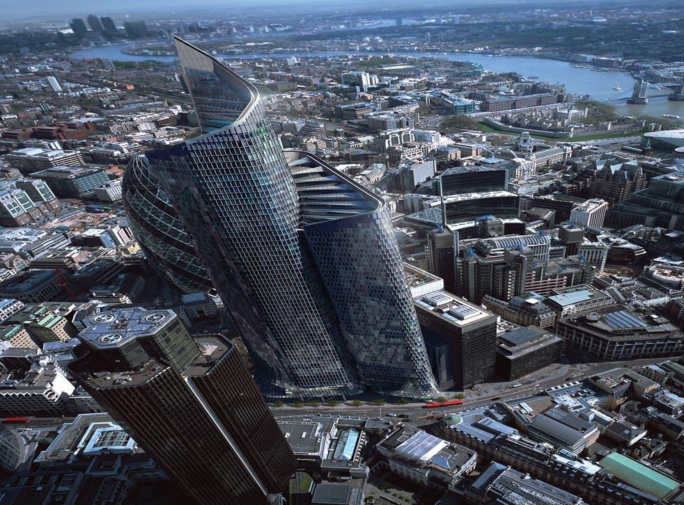 A CGI image of Pinnacle tower at 200 Bishopsgate