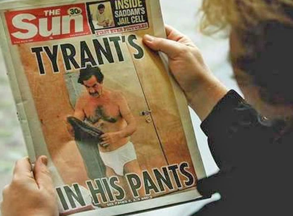 Saddam Hussein was splashed across The Sun and the New York Post in 2005