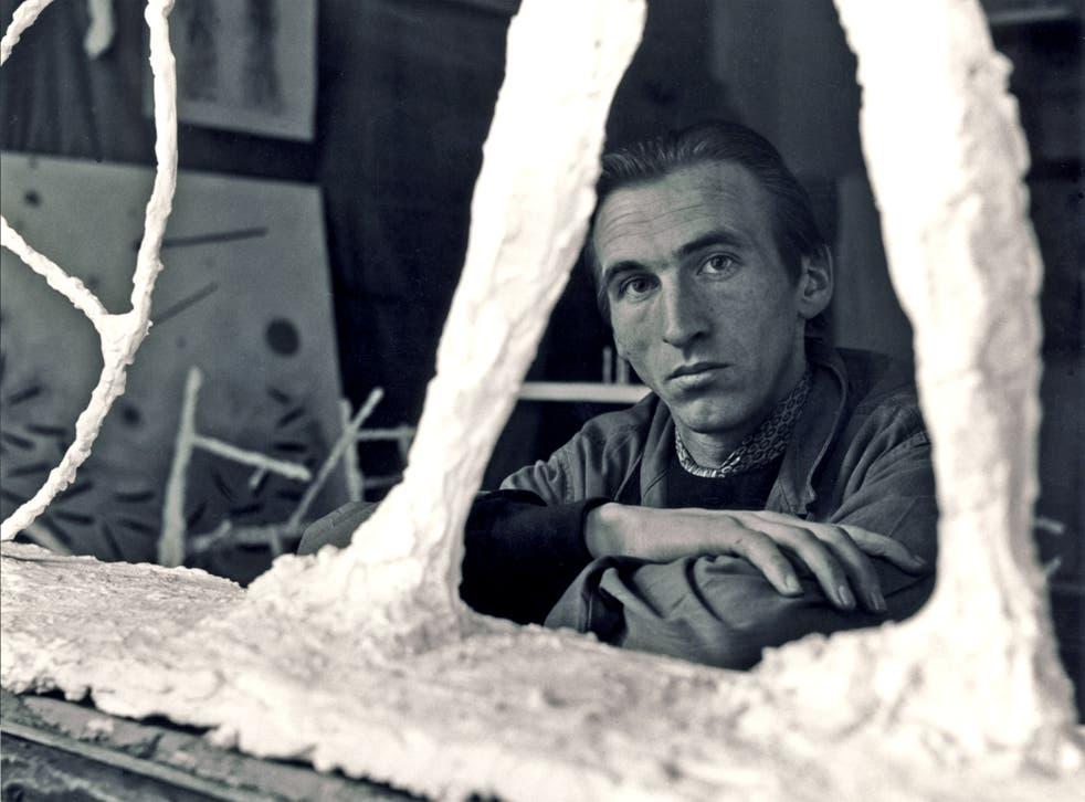 'My work is not ornate. It is the opposite, I suppose, of Baroque': Turnbull with one of his pieces in 1951