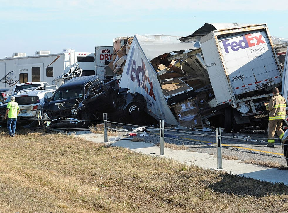 v2-Two people died and more than 80 were hurt when at least 140 vehicles collided on a Texas highway in dense fog