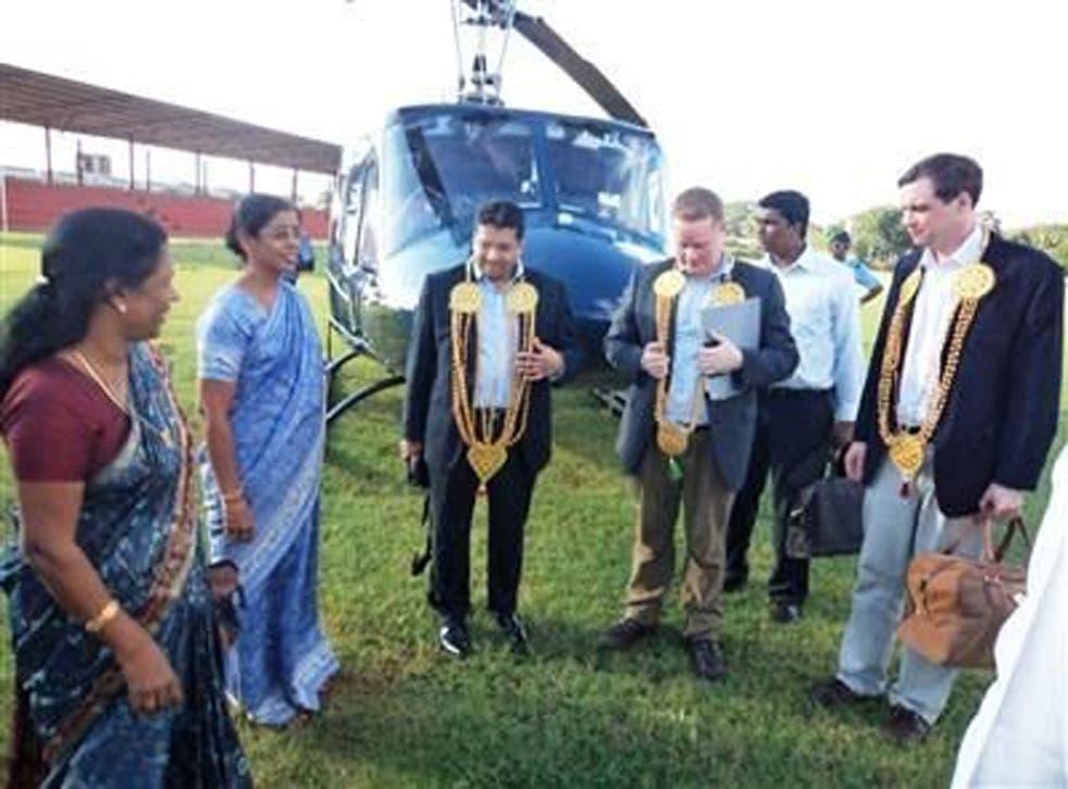 Wharton, far right, in Sri Lanka