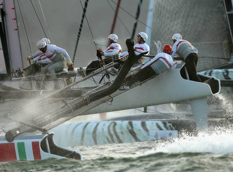 Team Luna Rossa Swordfish competes in a fleet race during the America's Cup World Series