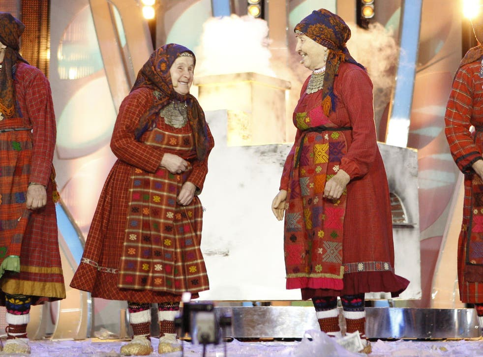The Buranovo Grannies performing at the 2012 Eurovision song contest in Moscow
