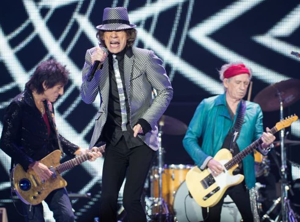 Ronnie Wood, Mick Jagger and Keith Richards perform selection of classic hits