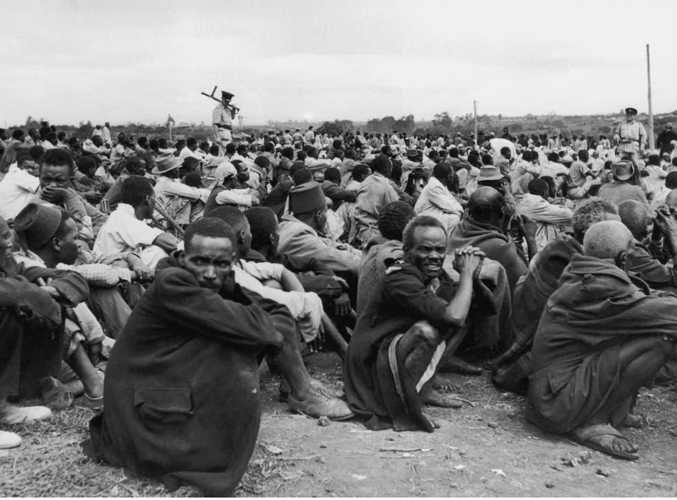 Kenyan Mau Mau suspects in a British detention camp in 1953