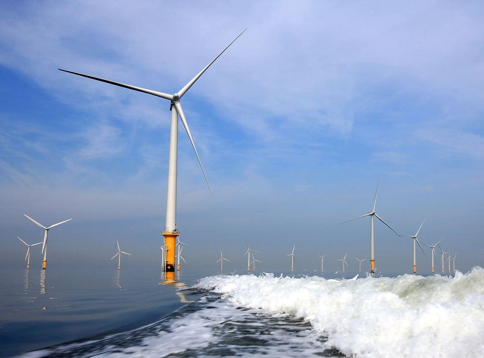 Turbines in a windfarm at the mouth of the River Mersey