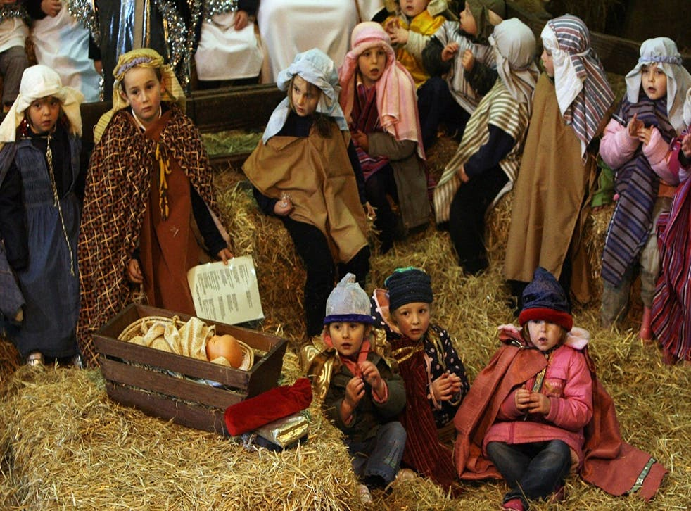 Schoolchildren perform in the traditional nativity play