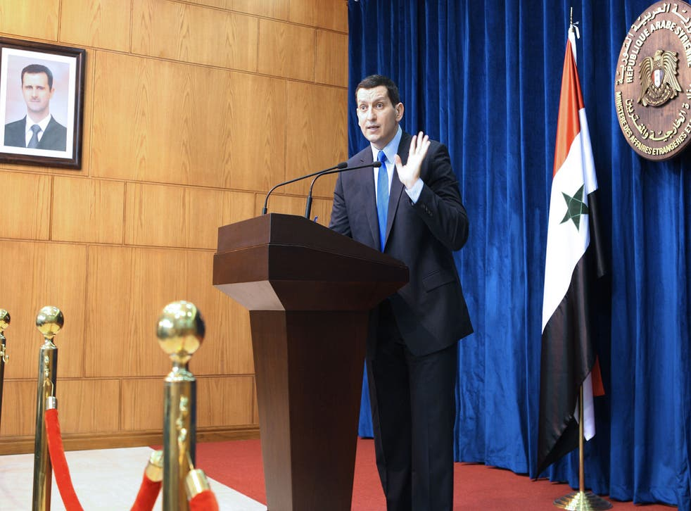 Syrian foreign ministry spokesman Jihad al-Makdissi addresses journalists in Damascus on May 27, 2012, stressing that the Syrian government was 'not at all' responsible for the massacre of at least 92 people in the central town of Houla which has sparked an international outcry.