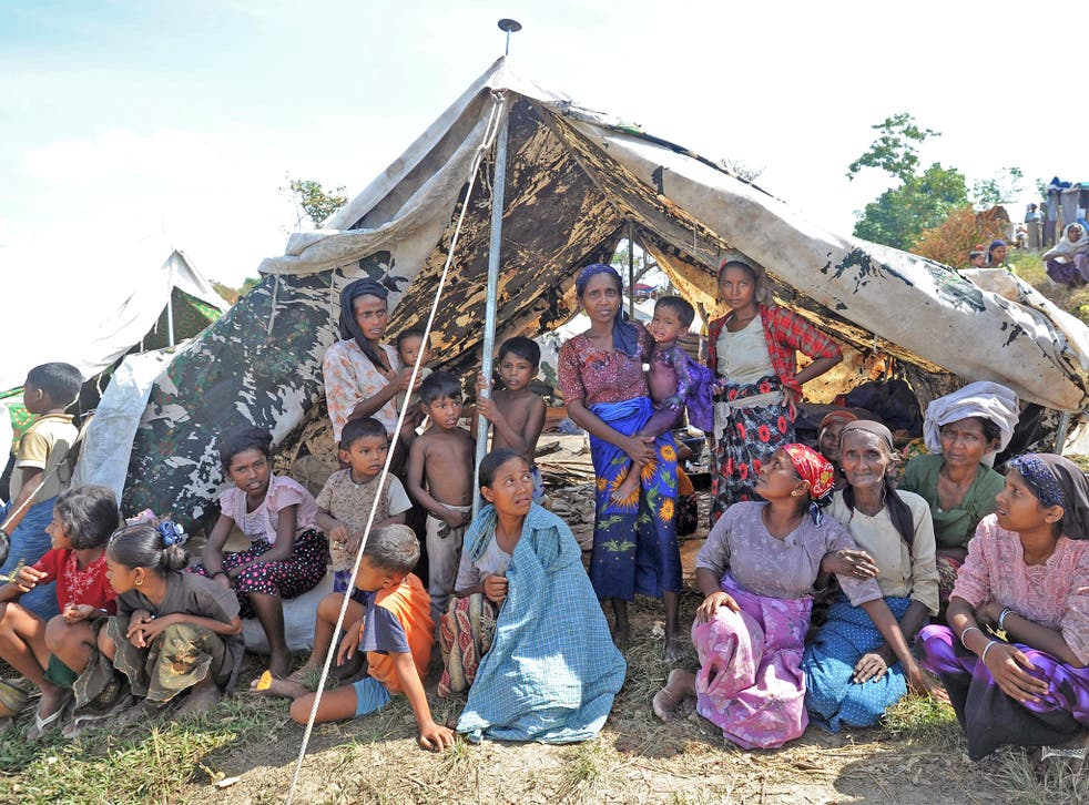 Rohingya Muslims displaced from their homes by communal violence