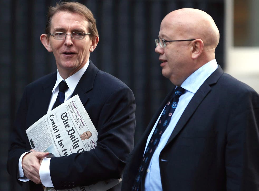 Editor of The Independent Chris Blackhurst, right, arrives for Tuesday's meeting with other newspaper editors and David Cameron alongside Telegraph editor Tony Gallagher