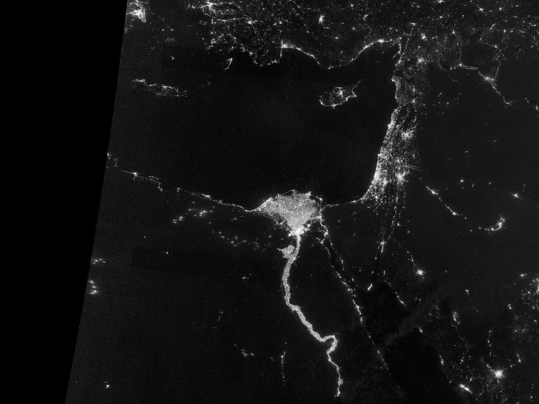 Earth satellite image at night — 2