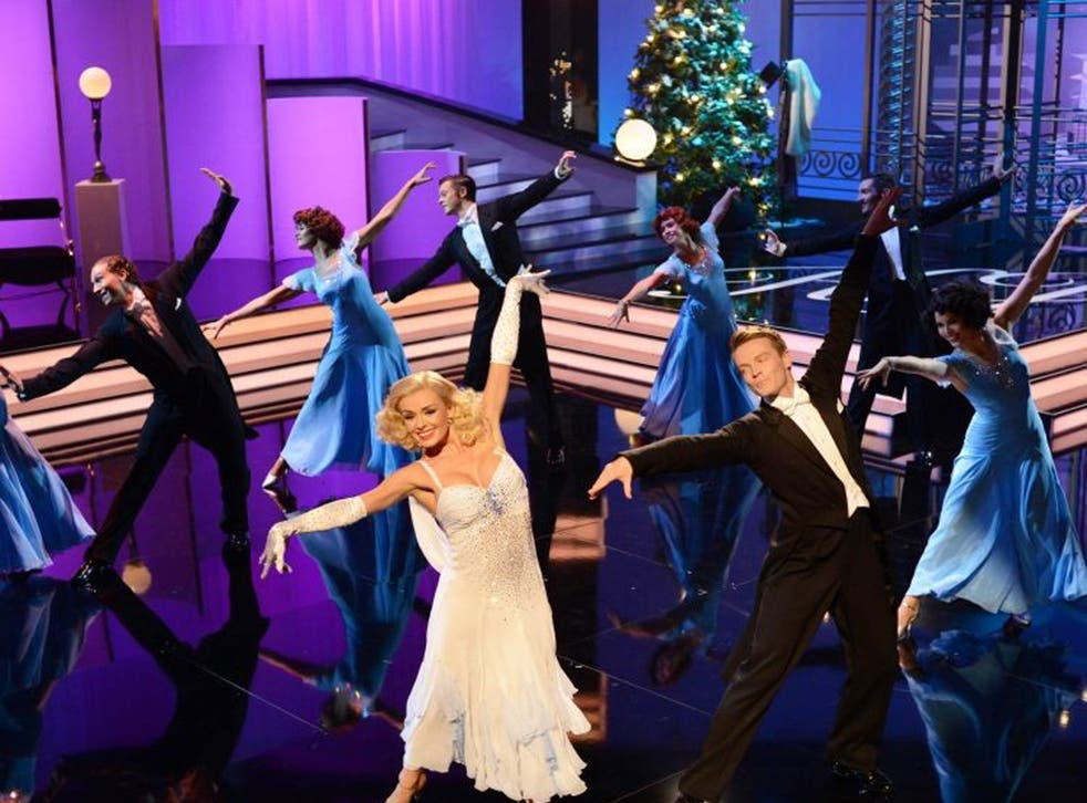"""""""Shrieking"""": Katherine Jenkins in a number from her ITV special, 'Steppin' Out with...'"""