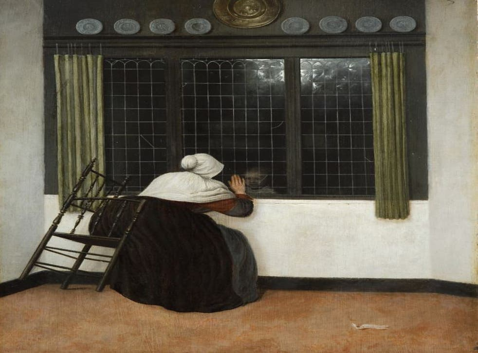 Woman at a Window, Waving at a Girl c1650, 47.5cm x 39.2cm by Jacobus Vrel