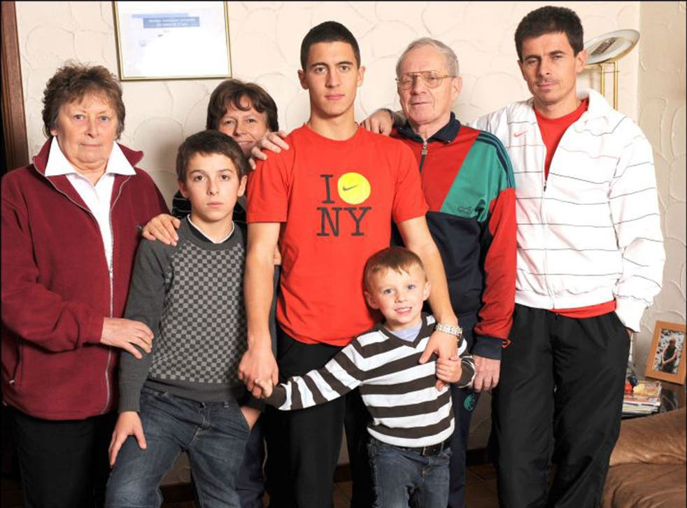 Eden Hazard with rest of his football mad family