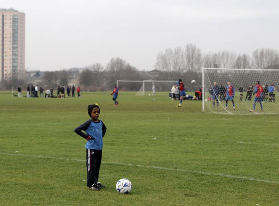 Sunday League footballers playing on Hackney Marshes