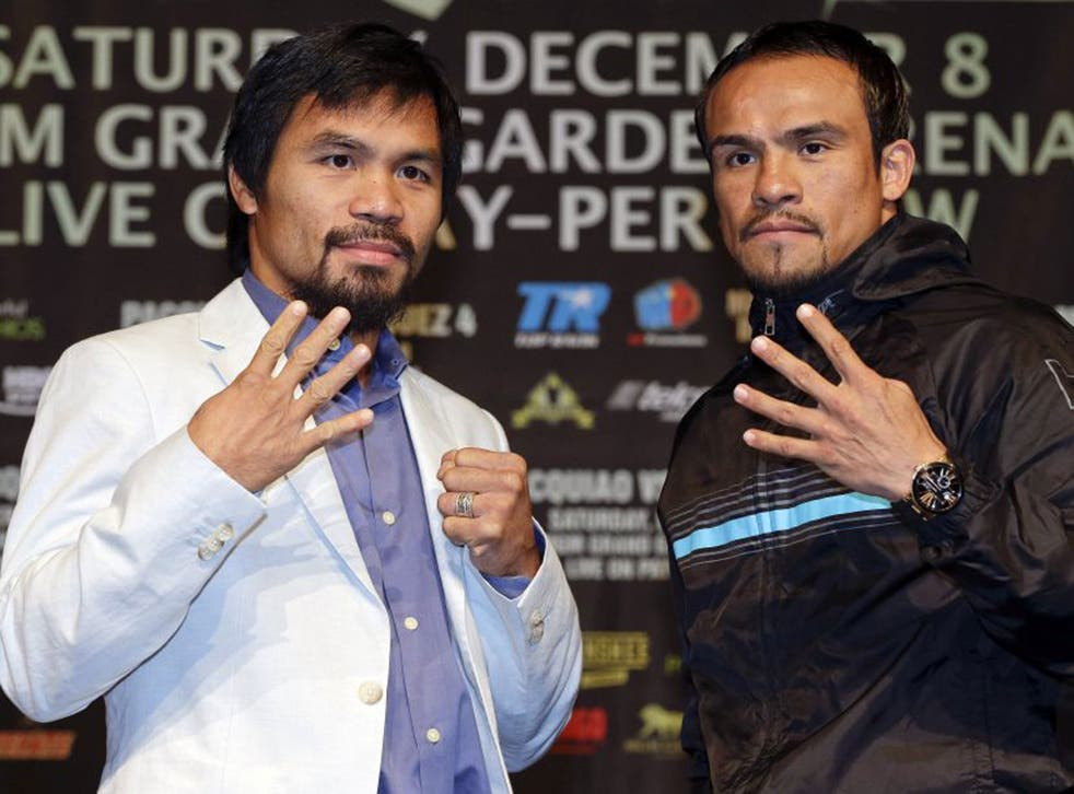 Manny Pacquiao (left) will fight Juan Manuel Marquez for a fourth time at the MGM in Las Vegas tonight