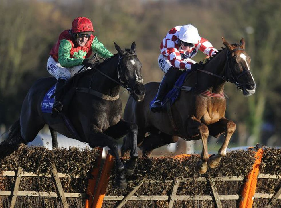 Taquin Du Seuil (left), ridden by Tony McCoy, clears the last flght upsides Le Bec (Dougie Costello) to win the Grade Two Winter Novice Hurdle at Sandown yesterday