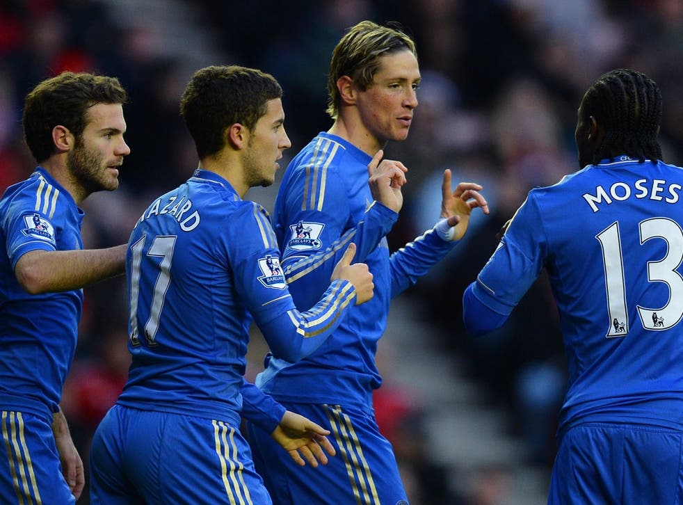 Chelsea's Spanish forward Fernando Torres (2R) celebrates with teammates Spanish striker Juan Mata, Belgian midfielder Eden Hazard and Nigerian midfielder Victor Moses