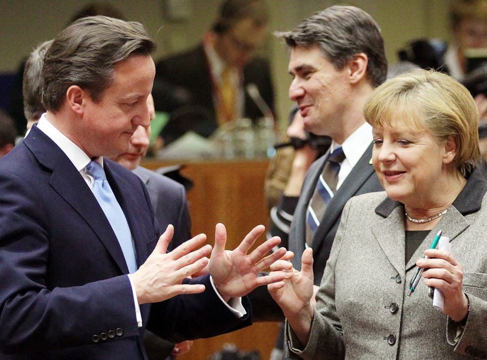 David Cameron with the German Chancellor Angela Merkel at the EU summit in Brussels