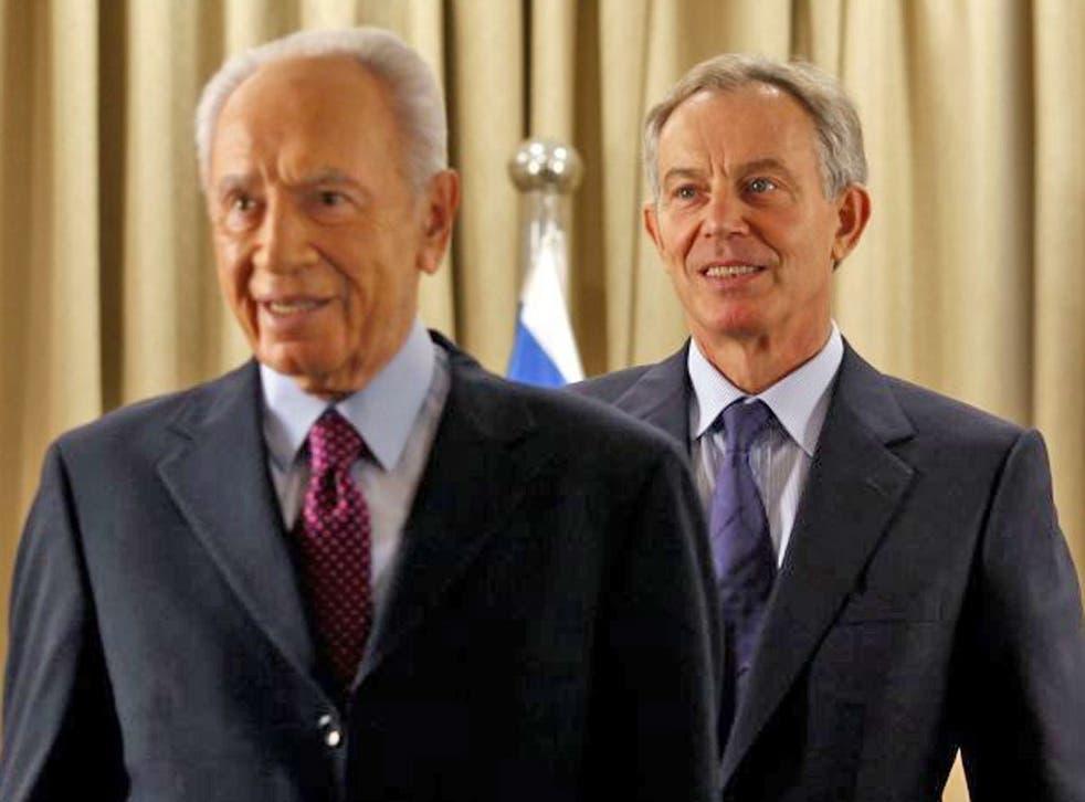 The Israeli President, Shimon Peres, with Tony Blair last month