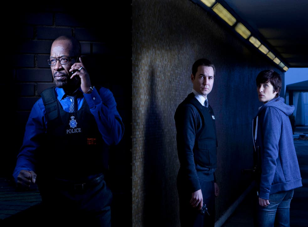 Publicity image for Line of Duty: DCI Tony Gates (Lennie James), DS Steve Arnott (Martin Compston), Detective Constable Kate Fleming (Vicky McClure)