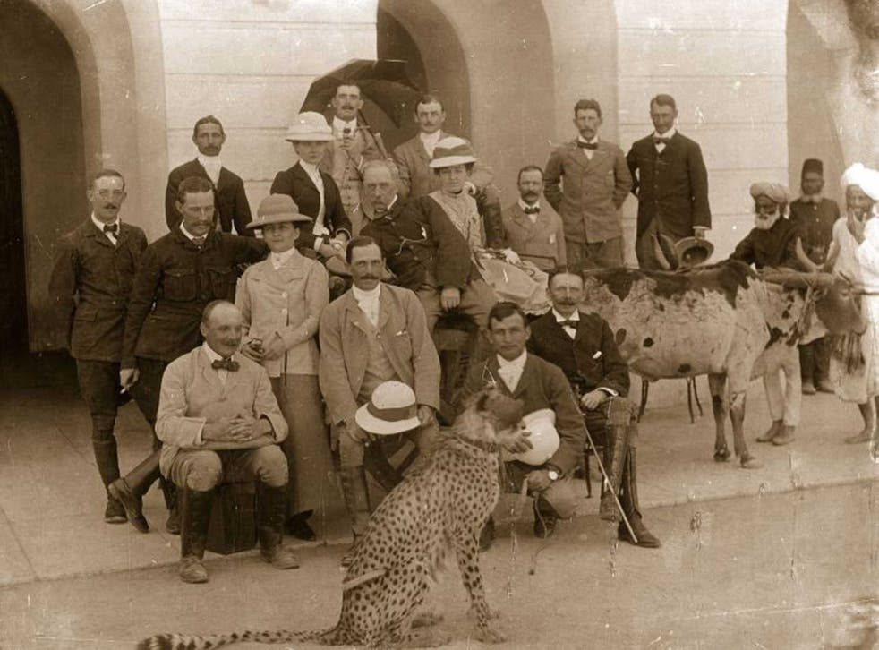 Colonial correctives: the British Raj in Secunderabad, near Hyderabad, with a pet cheetah