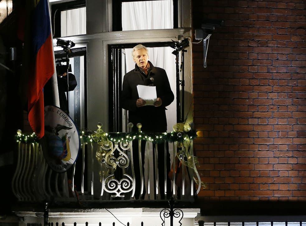 Julian Assange at the embassy last night