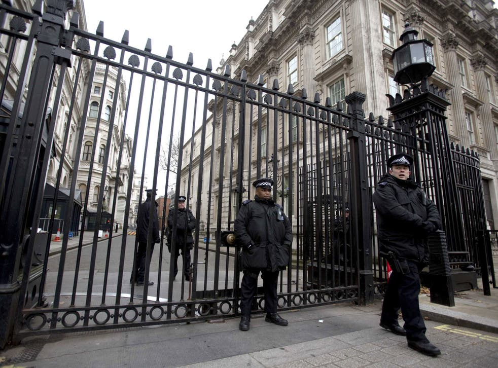 Police guard Downing St