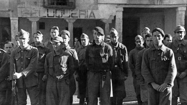 Men of the British Battalion of the XV International Brigade in Spain in the Civil War, 1937