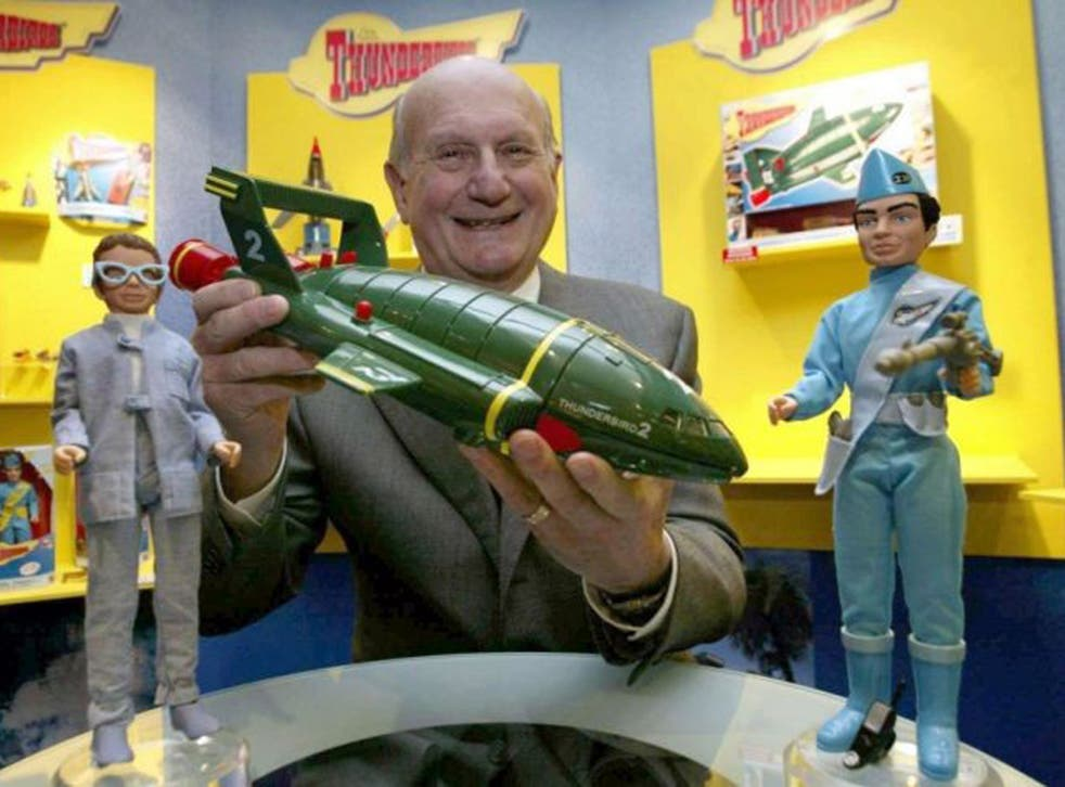 The creator of Thunderbirds, Gerry Anderson holds Thunderbird 2 on the 40th anniversary of the Thunderbirds in 2005