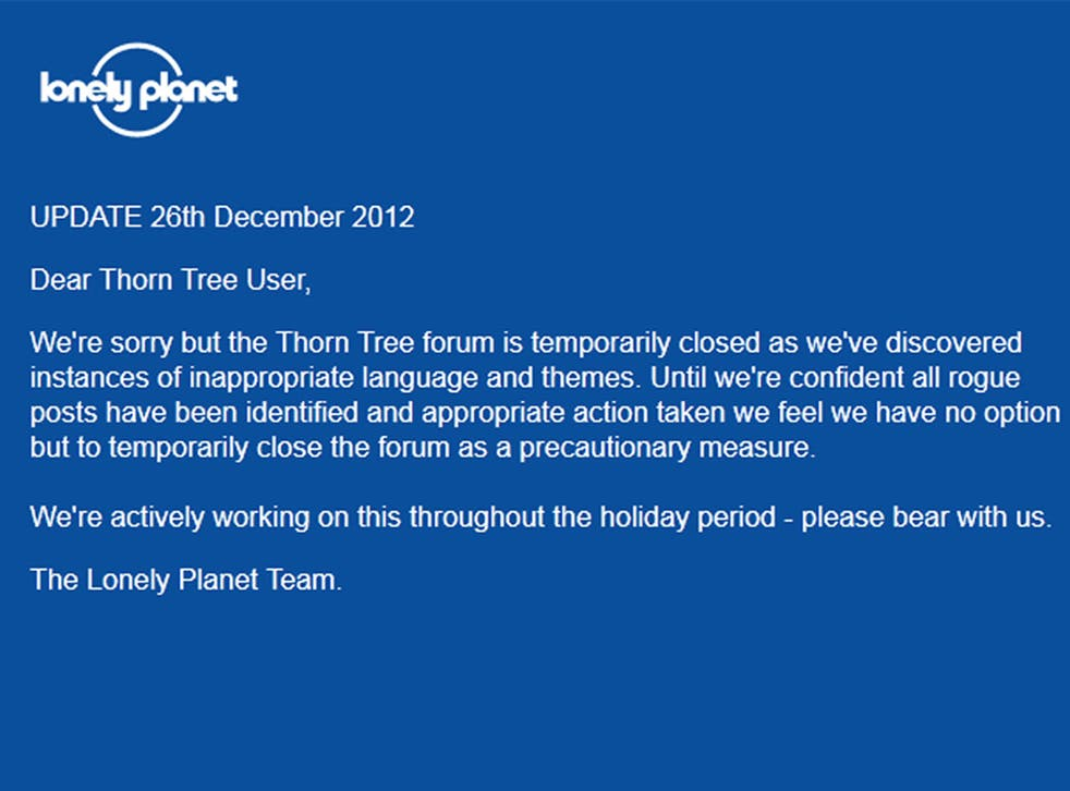 The message that currently greets visitors on the Thorn Tree forum web page