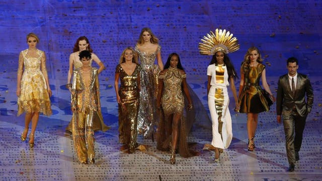 Golden age: Models at the Olympics Closing Ceremony