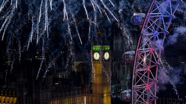 New Year fireworks above London's Houses of Parliament