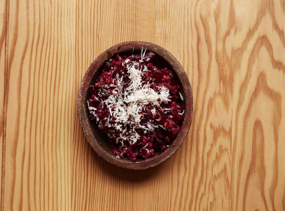 Beetroot spelt with horseradish can be served hot or cold