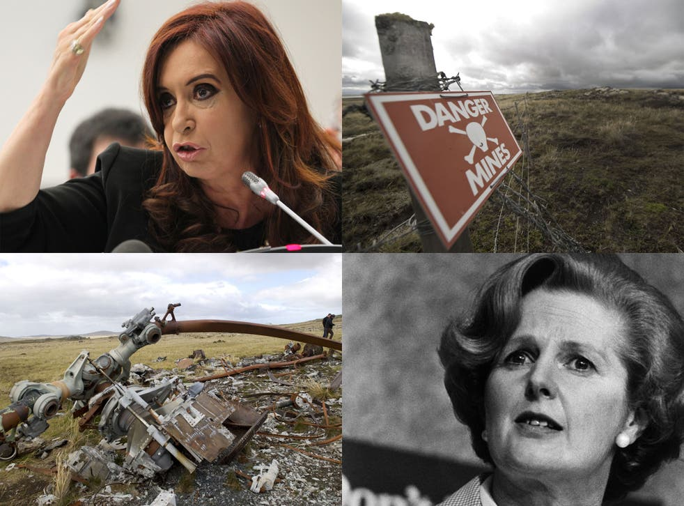 Clockwise from left: Cristina Fernandez de Kirchner, a land mine warning sign, Margaret Thatcher, who ordered the invasion of the Falklands, view of the wreckage of an Argentine helicopter