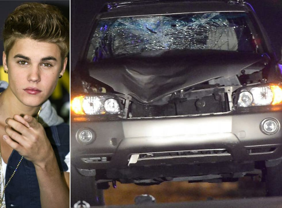 Justin Bieber and the car that struck and killed the celebrity photographer who had been attempting to photograph the star's car