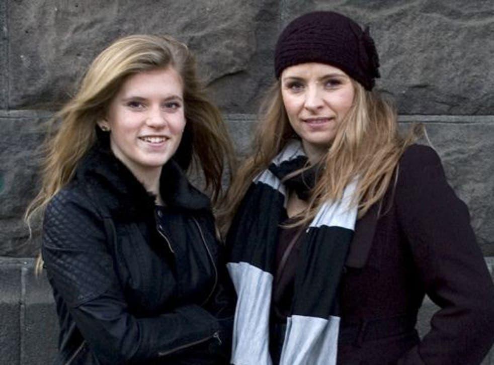 Blaer Bjarkardottir, 15, left, and her mother, Bjork Eidsdottir,  outside a court building in Reykjavik