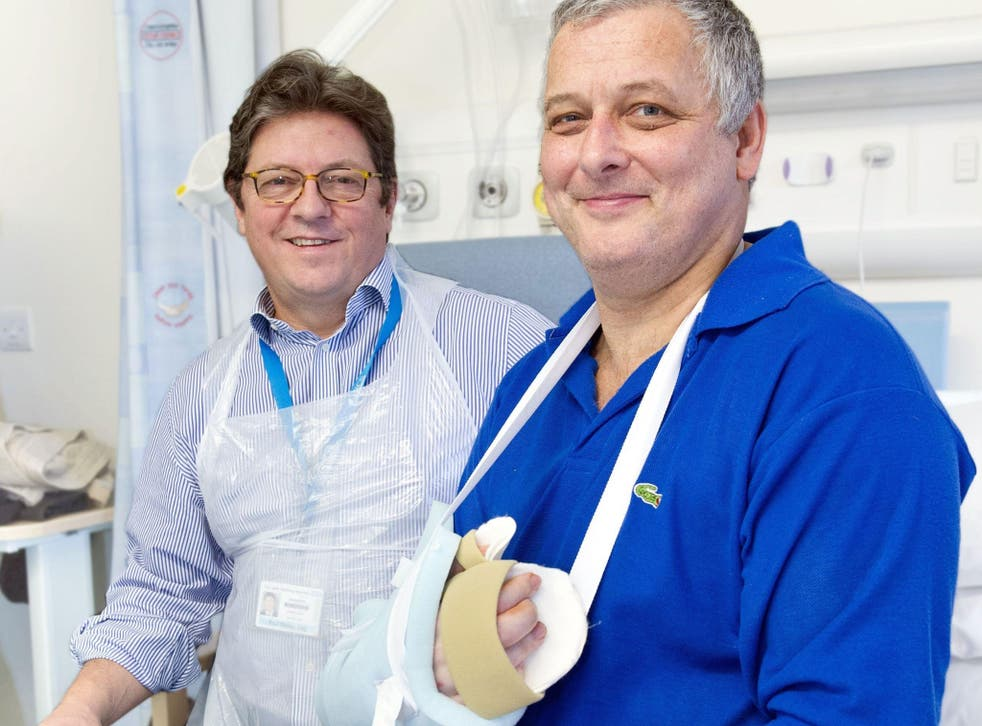 Dr Simon Kay, left, and his surgery patient Mark Cahill