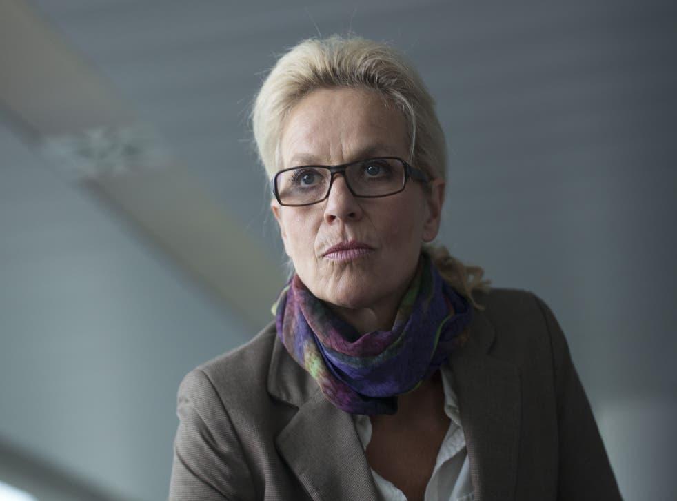 Hanne Holme (Benedikte Hansen) in Borgen, episode two, series two