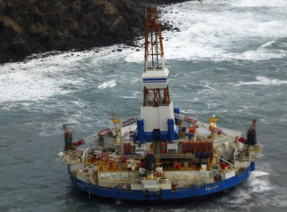 The Kulluk oil rig near Sitkalidak Island, pictured on Tuesday