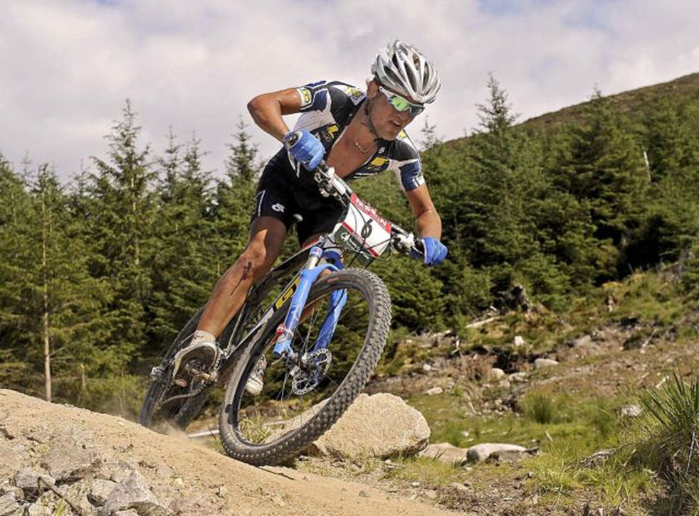 South Africa's Burry Stander in the Mountain 2008 Bike World Cup