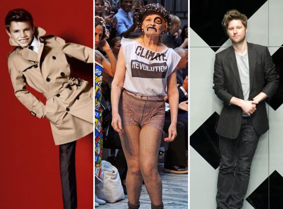 Romeo Beckham models Burberry, Vivienne Westwood and Burberry designer Christopher Bailey