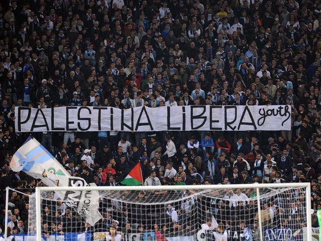 A view of the Lazio crowd during the match with Tottenham