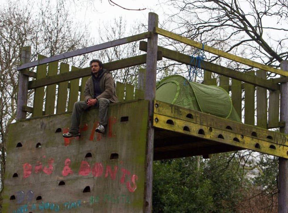 Occupy protesters have set up a camp to try to halt staffing cuts at Battersea Park