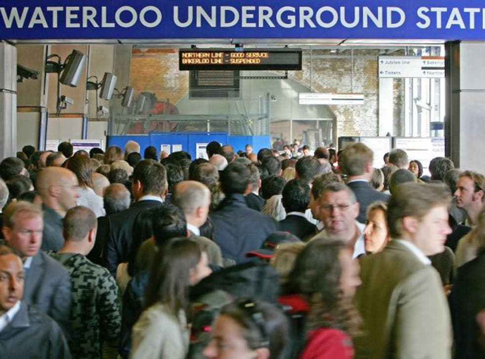 In this file picture taken on September 4, 2007 passengers jostle to enter the Underground station at Waterloo Station in central London, as commuters battled with severe transport disruption to get to work as unions staged a second day of strikes on the